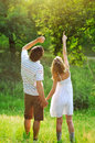A young couple in love outdoors Stock Photo