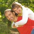 Young couple in love outdoors Stock Photos
