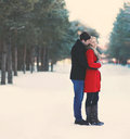 Young couple in love outdoors in the winter Royalty Free Stock Photo