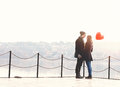 Young couple in love, at the riverside Royalty Free Stock Photo
