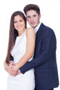 Young couple in love with white background Royalty Free Stock Images