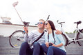 Young couple making a selfie Royalty Free Stock Photo