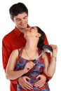 Young couple, man and housewife, embraces. Stock Photography