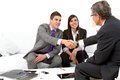 Young couple at meeting with financial planner. Royalty Free Stock Photos
