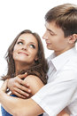 Young couple men and his beloved on white background Stock Photo