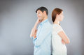Young couple men and women have problems Stock Photo