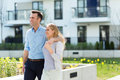 Young couple in modern residential area Royalty Free Stock Photo