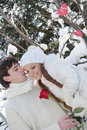 Young couple on natural winter background
