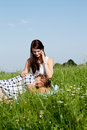 Young couple outdoor in summer on blanket Stock Photos