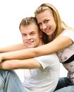 Young couple over white Royalty Free Stock Photography
