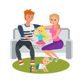 Young couple in park on bench, relax, play with children. Royalty Free Stock Photo