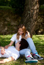 Young Couple in the park dating Stock Images