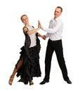 Young couple performs ballroom dance Stock Photo