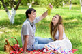 Young couple at picnic Royalty Free Stock Photo