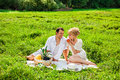 Young couple at a picnic happy making in the park Stock Photo