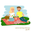 Young couple on picnic together. Family picnic vacation. Summer happy lifestyle park outdoors. Vector illustration.