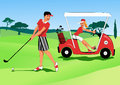 Young couple playing golf man hitting a ball with a club and a woman driving by in a cart illustration no transparencies Royalty Free Stock Photography