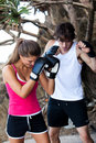 Young Couple Practicing Boxing Outdoors Stock Photos