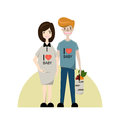 Young couple. Pregnant woman and man. Flat style vector illustration family. Cartoon characters isolated on white background
