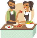 Young couple preparing meal together Royalty Free Stock Photo