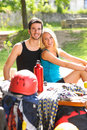 Young couple relax sunny terrace climbing gear Royalty Free Stock Photos