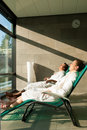 Young couple relaxing in wellness spa Stock Photos