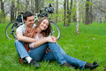 Young couple resting in a park Royalty Free Stock Photo
