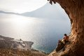 Young couple of rock climbers having a rest kalymnos island greece Stock Photo