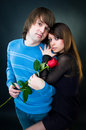 Young couple with rose Royalty Free Stock Photo