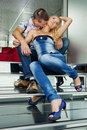 Young couple sitting on the stairs Royalty Free Stock Photography