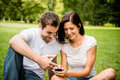image photo : Young couple with smartphone