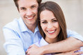 Young couple smiling and hugging Royalty Free Stock Photography