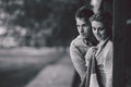 Young couple standing and embrace Royalty Free Stock Photo