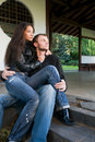 Young couple on the steps Stock Photography