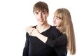 The young couple in studio Royalty Free Stock Photo