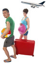Young couple with suitcase on vacation delayed airliner Royalty Free Stock Image