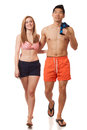 Young Couple in Swimwear Royalty Free Stock Photos