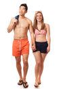 Young Couple in Swimwear Stock Photography