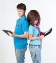 A young couple with a Tablet PC Royalty Free Stock Photo