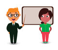 Young Couple Teaching Lesson with Black Board, Happy Cartoon Characters in Flat Vector