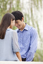 Young couple touching foreheads Royalty Free Stock Photos