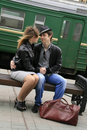 Young couple by train Royalty Free Stock Photos