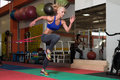 Woman Couple Train Together With Resistance Bands Royalty Free Stock Photo