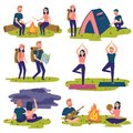 Set of travelers, tourists traveling. Yoga, hiking Royalty Free Stock Photo