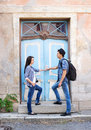 Young couple traveling, exploring new places Royalty Free Stock Photo