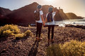 Young couple traveling nature Royalty Free Stock Photo
