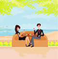 Young couple on a tropical beach Royalty Free Stock Images