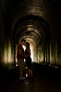 Young couple in a tunnel Royalty Free Stock Photo
