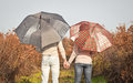 Young couple under an umbrella in the forest autumn Royalty Free Stock Photography