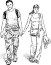 Young couple at walk vector drawing of a pair Royalty Free Stock Image